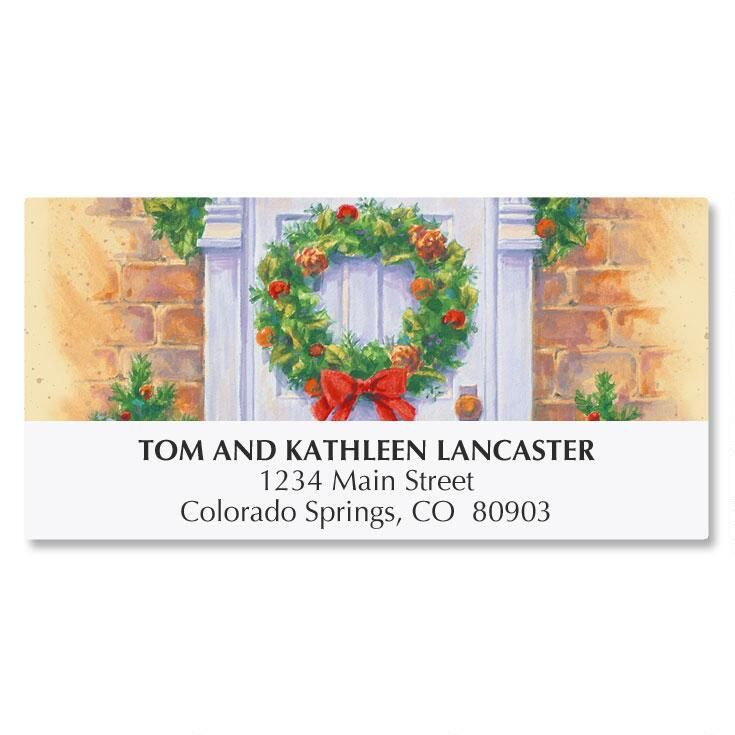 Wreath on Door Address Labels