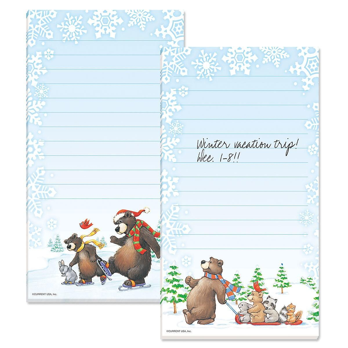 Christmas Bears Magnetic Notepads