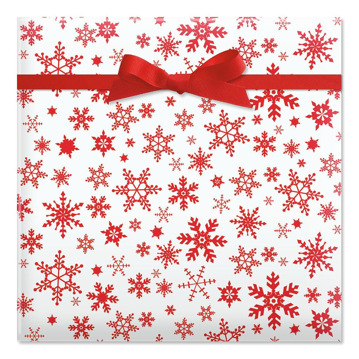 Red Snowflake Jumbo Rolled Gift Wrap