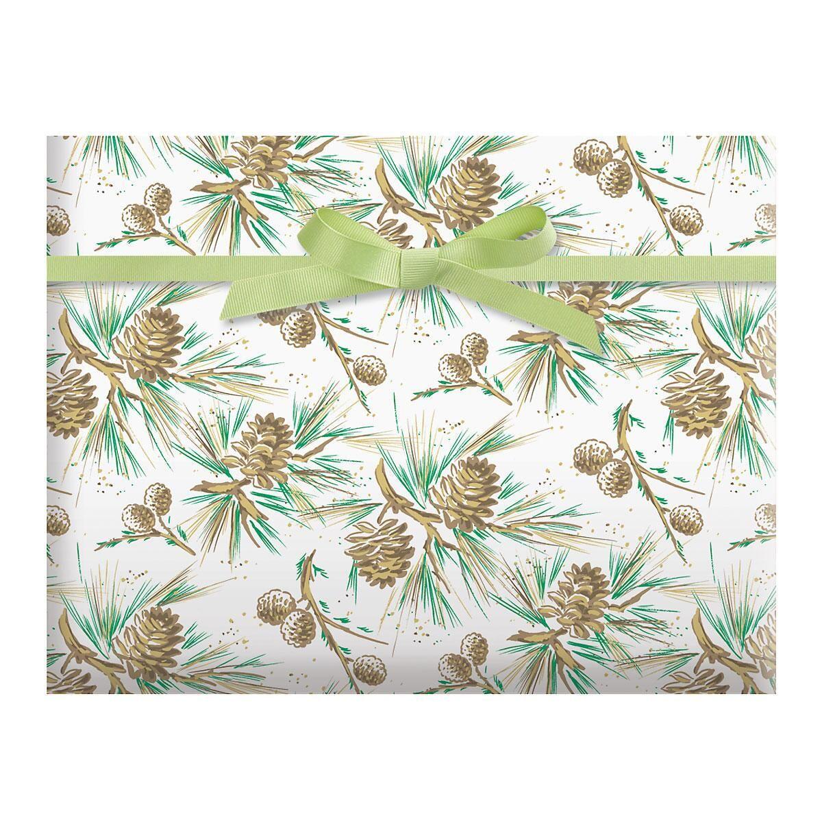 Pinecones on White Jumbo Rolled Gift Wrap