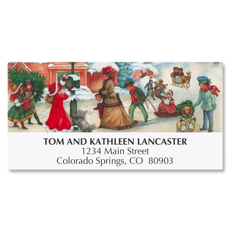 Victorian Village Christmas Address Labels