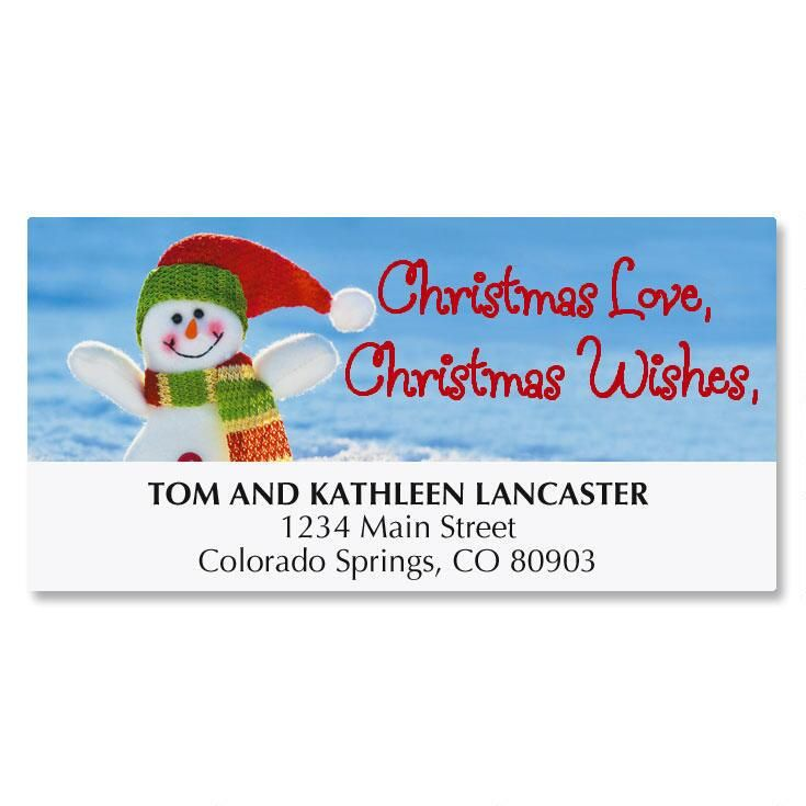Cheerful Snowman Address Labels