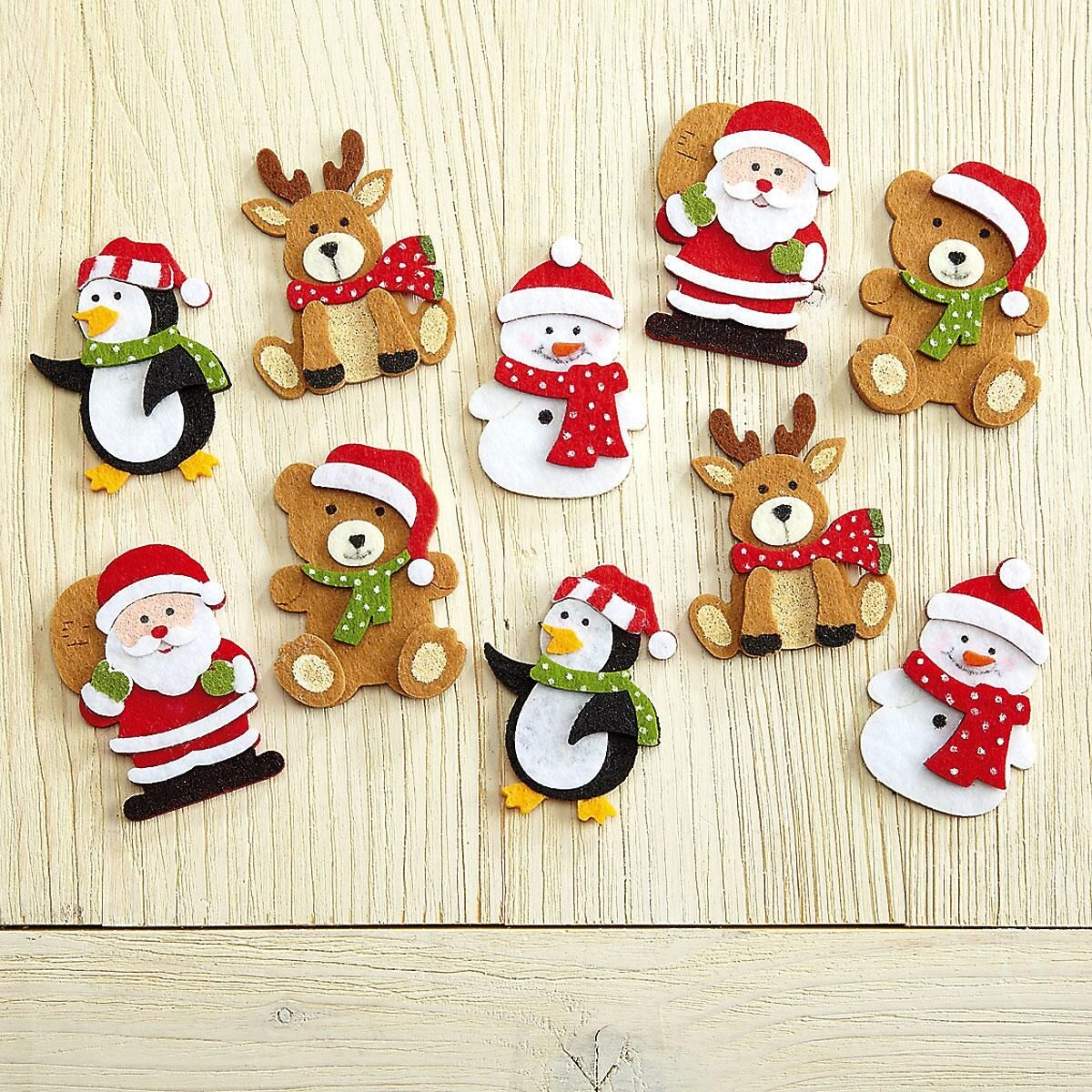 Self-Stick Christmas Character Felt Shapes