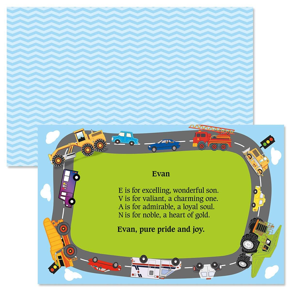 Trucks & Cars Name Poem Kids' Placemats
