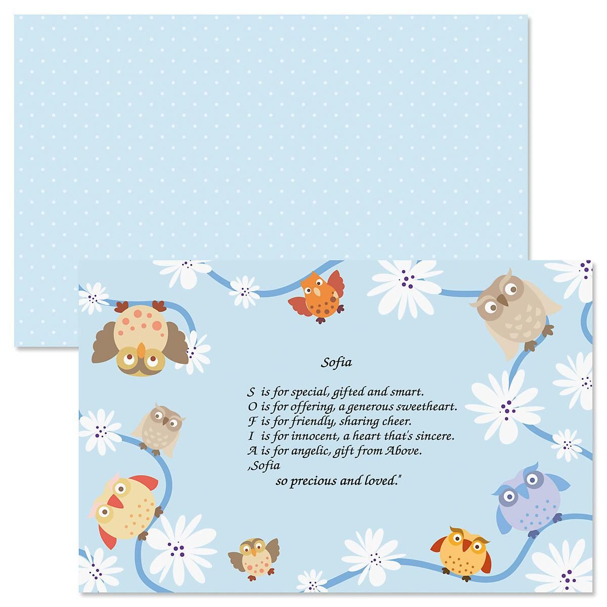 Owls Name Poem Kids' Placemats