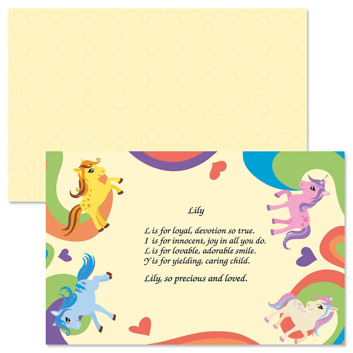 Ponies Name Poem Kids' Placemats