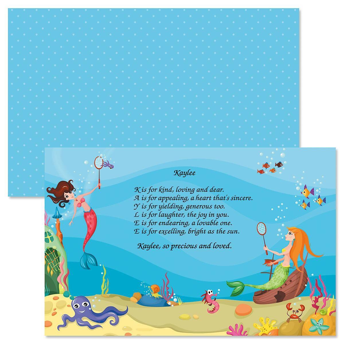 Mermaid Name Poem Kids' Placemats