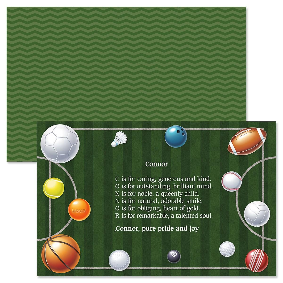 Kids Sports Balls Name Poem Placemat