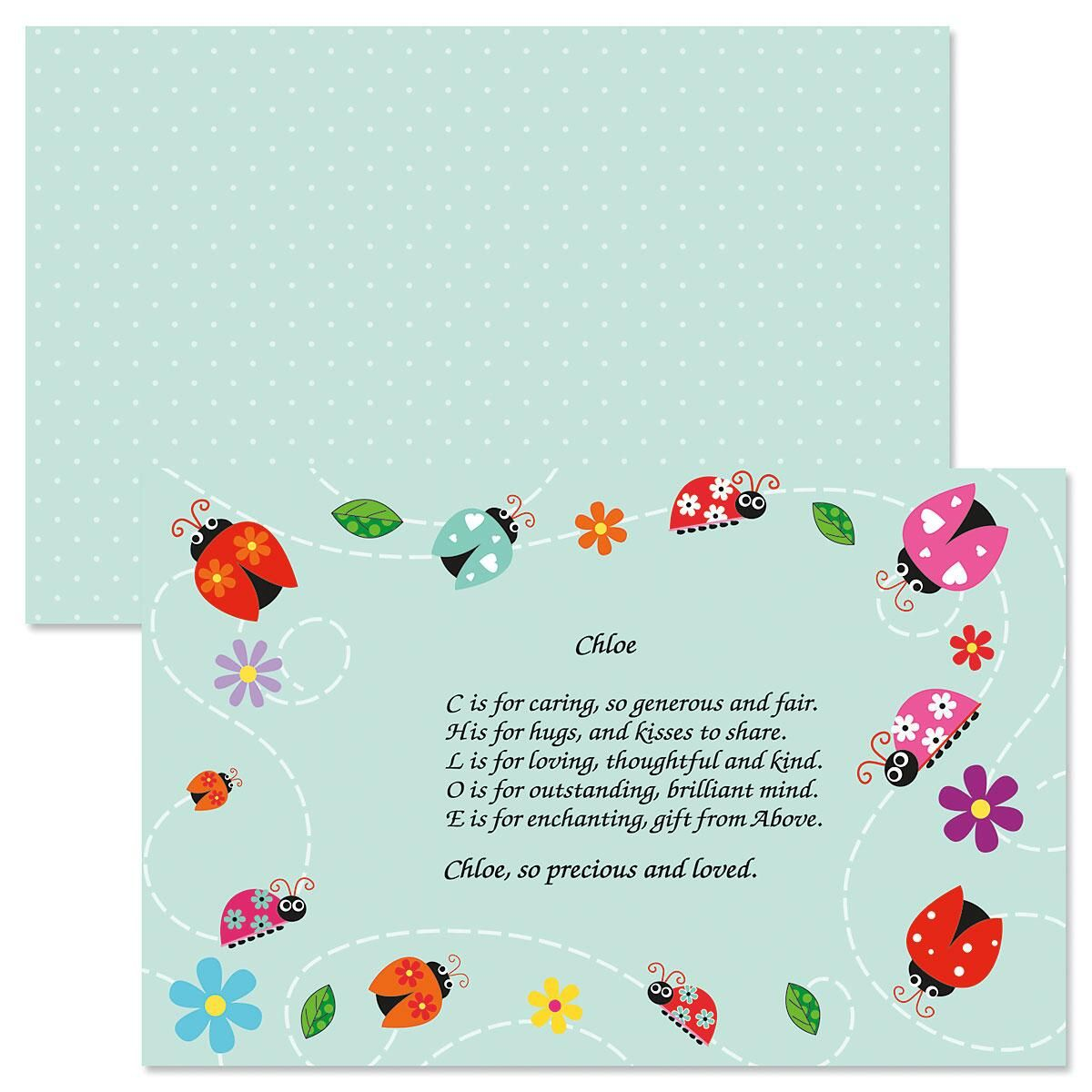 Ladybugs Name Poem Kids' Placemats