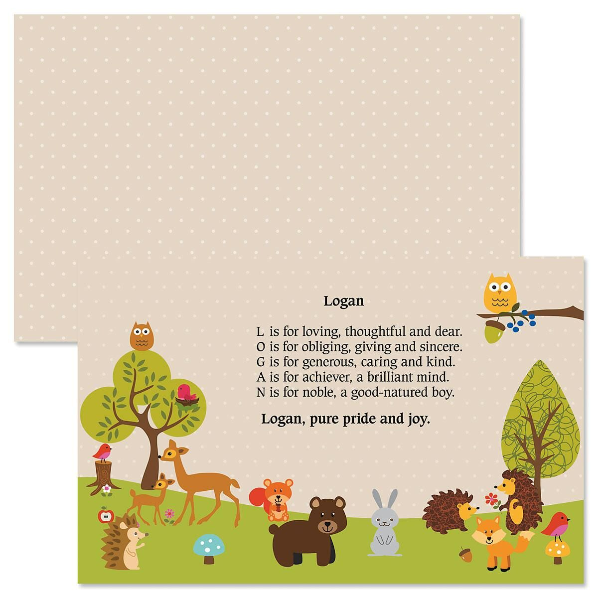 Woodland Name Poem Kids' Placemats