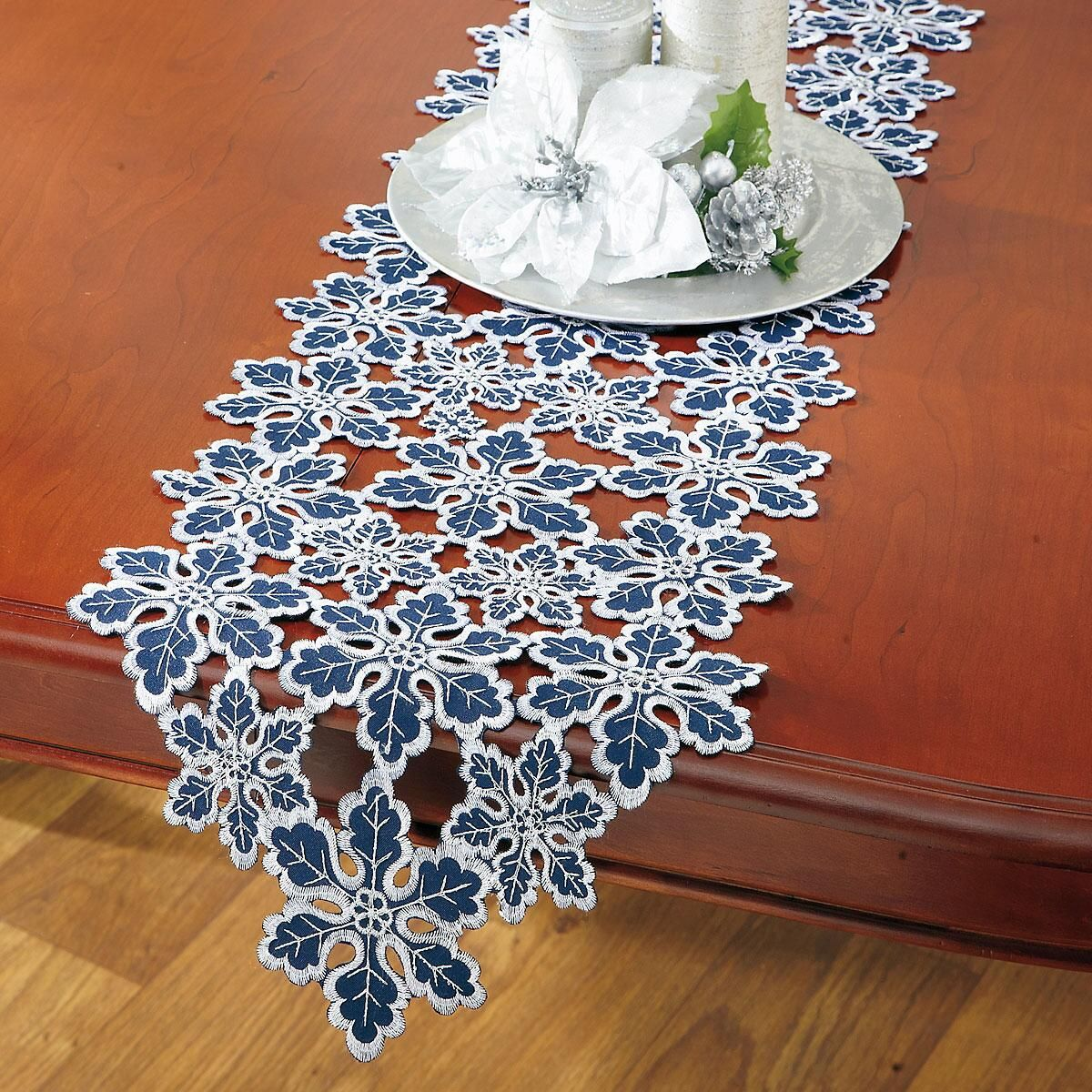 Blue & Silver Snowflake Table Runner