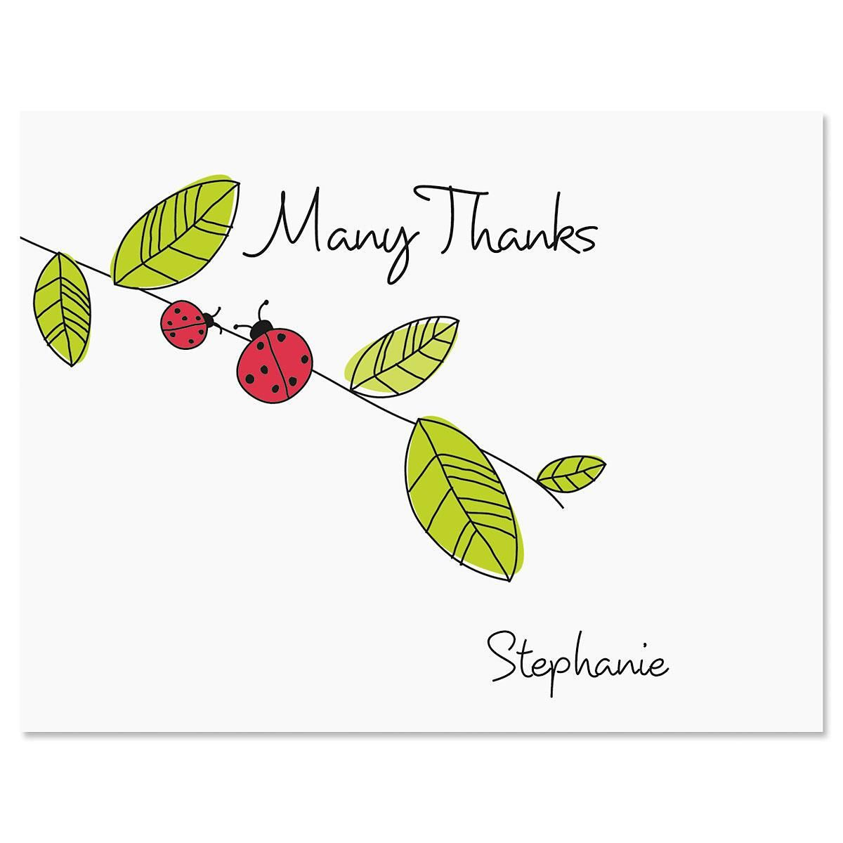 Ladybugs Personalized Thank You Cards