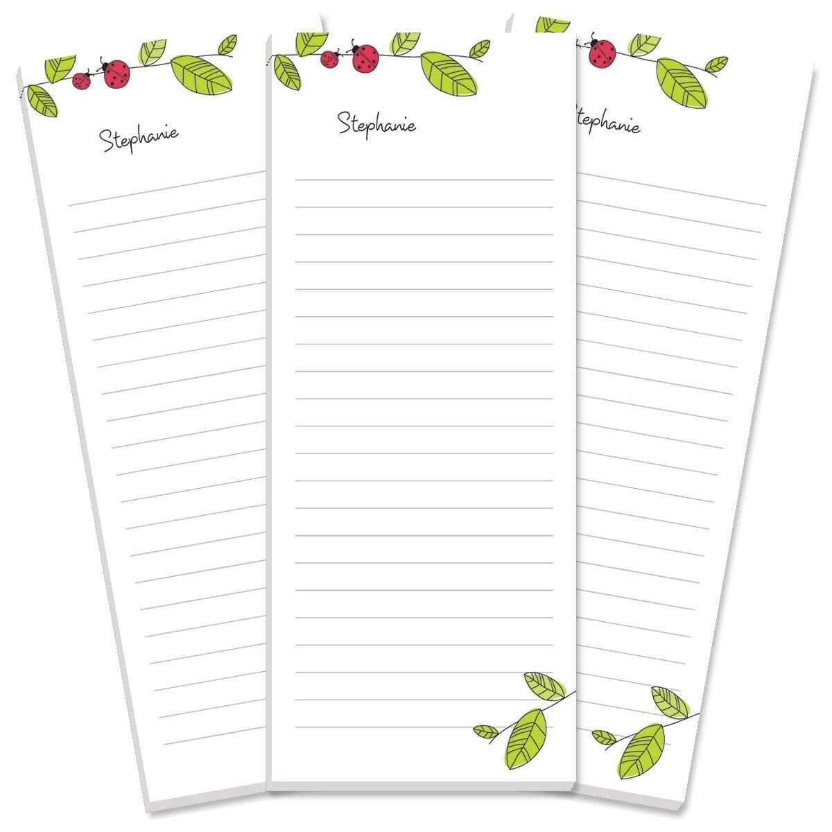Ladybugs Lined Shopping List Pads