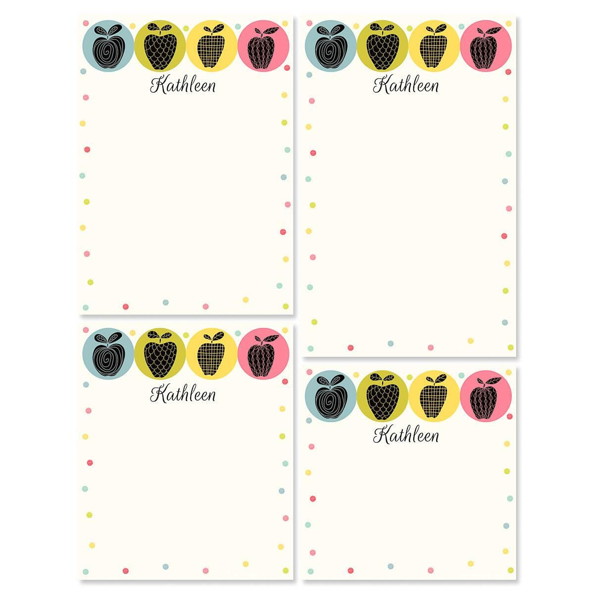 Geometric Apples Notepad Set