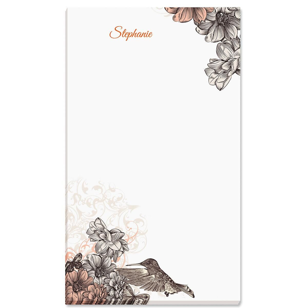 Hummingbird Garden Personalized Notepads