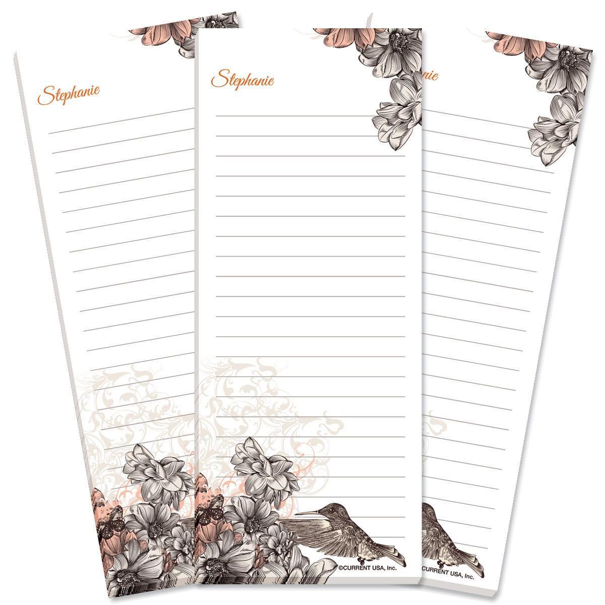 Hummingbird Garden Lined Shopping List Pads
