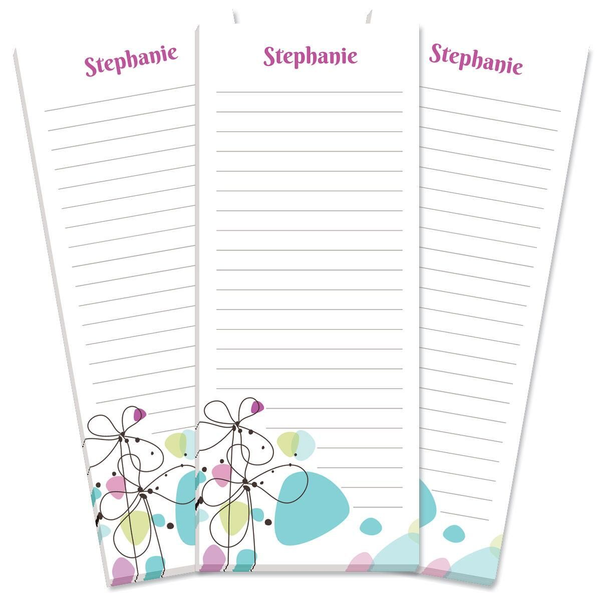 Sketched Flowers Lined Shopping List Pads