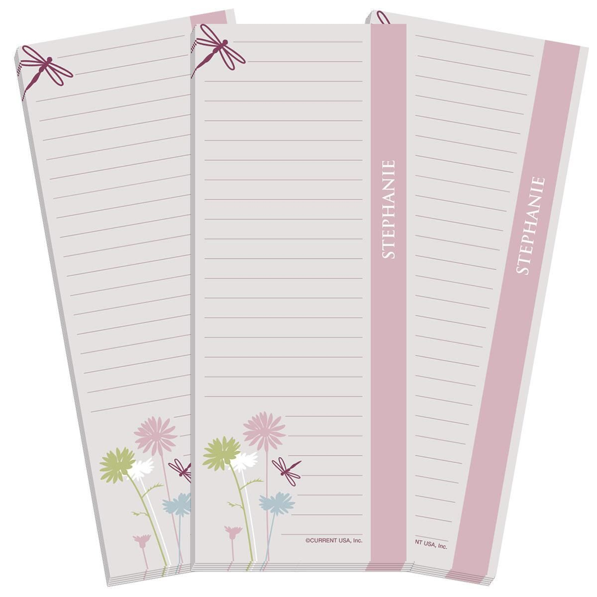 Dragonfly Lined Shopping List Pads
