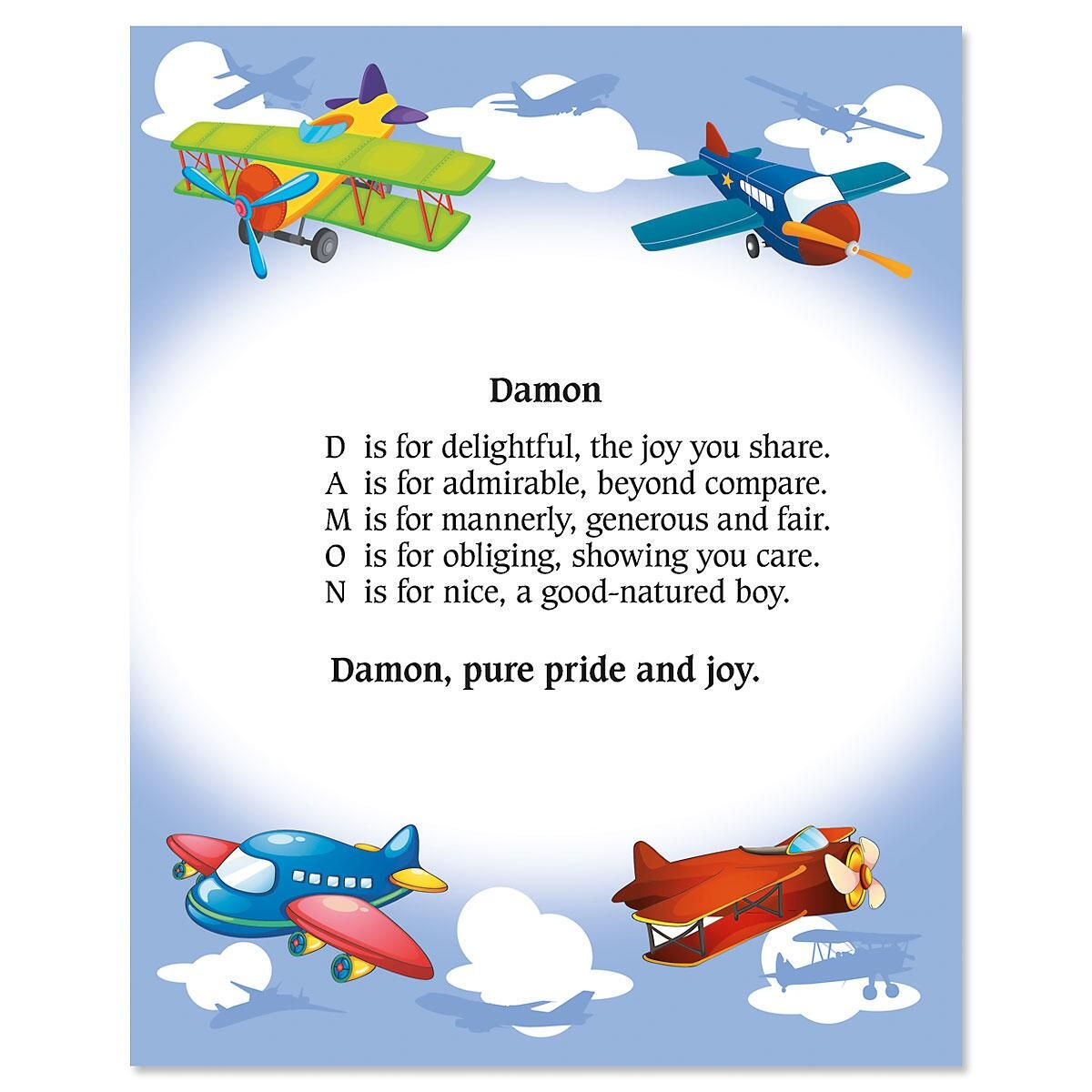 Airplane Name Poem Print