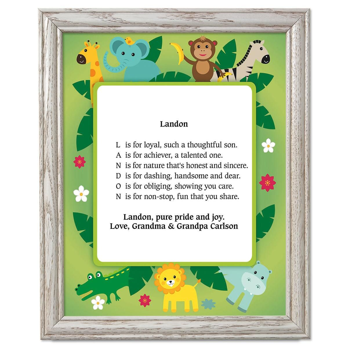 Safari Name Poem Framed Print