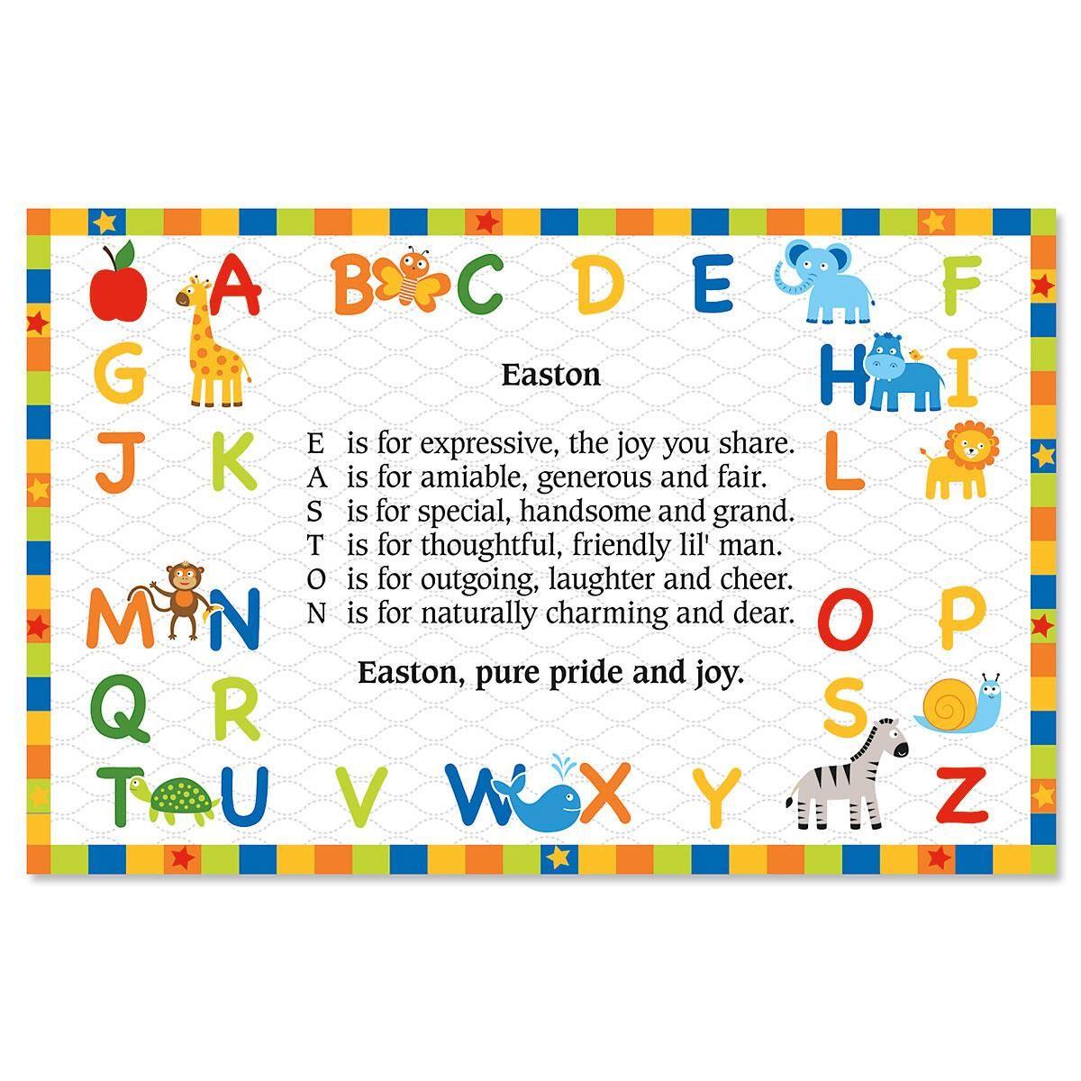 Alphabet Name Poem Placemat