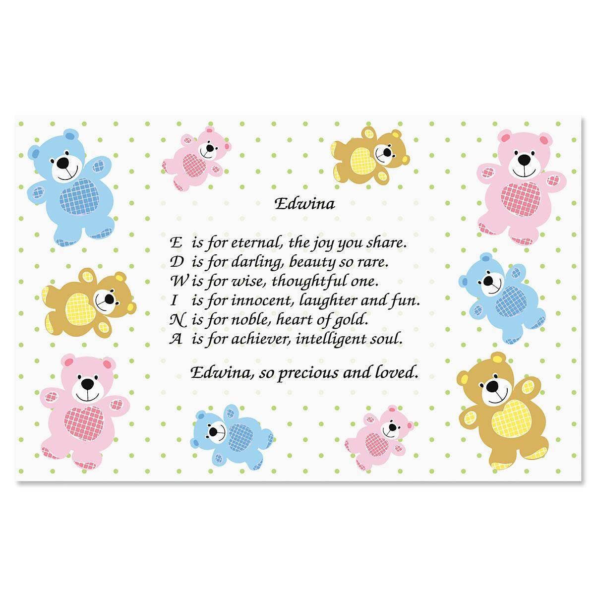 Bear Name Poem Placemat