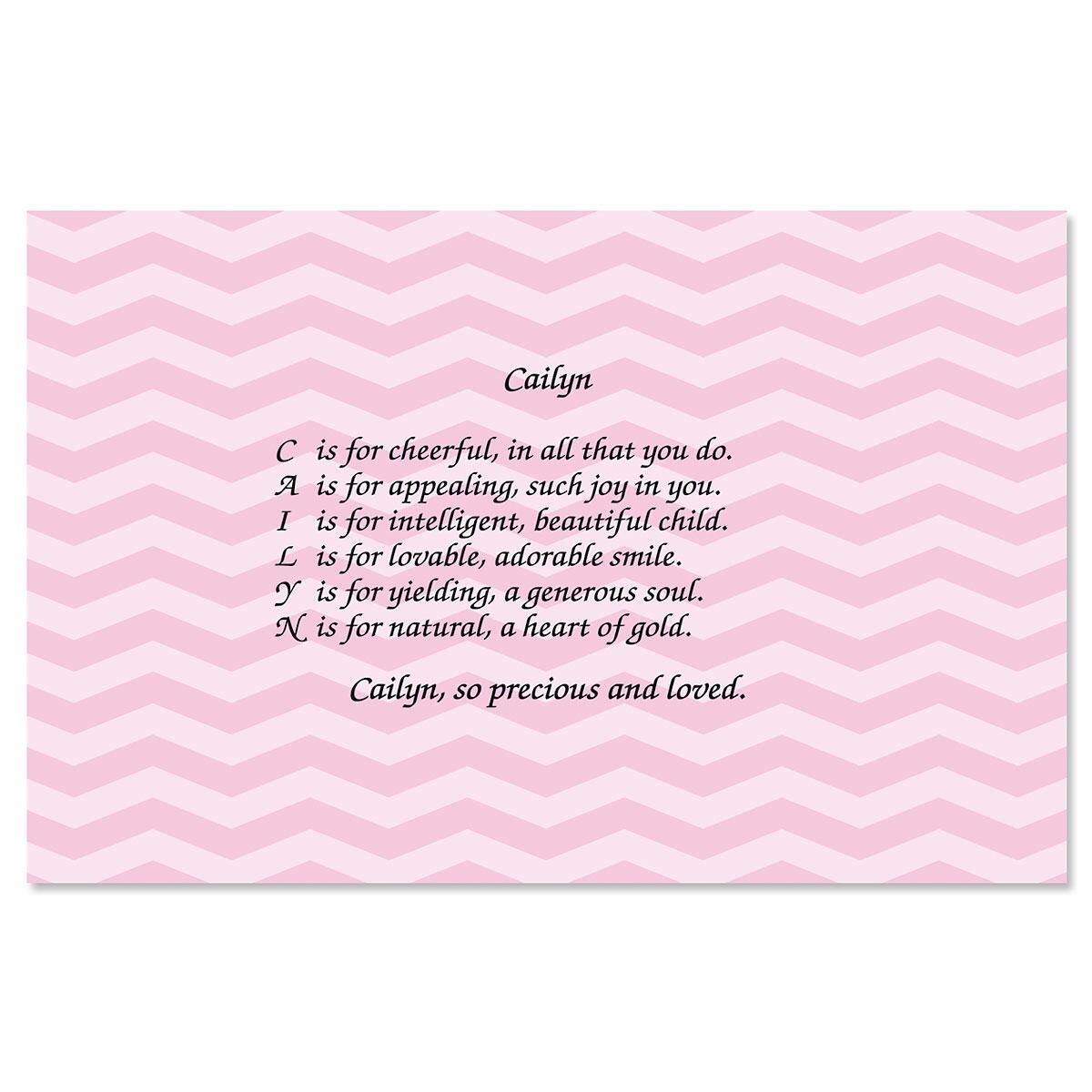 Chevron Pink Name Kids' Placemats