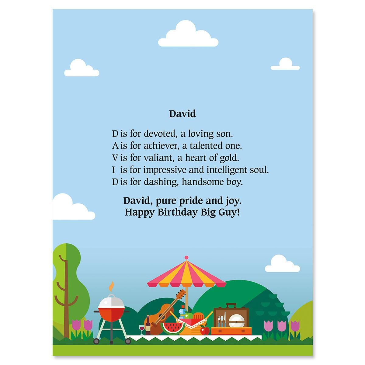 Barbeque Name Poem Print