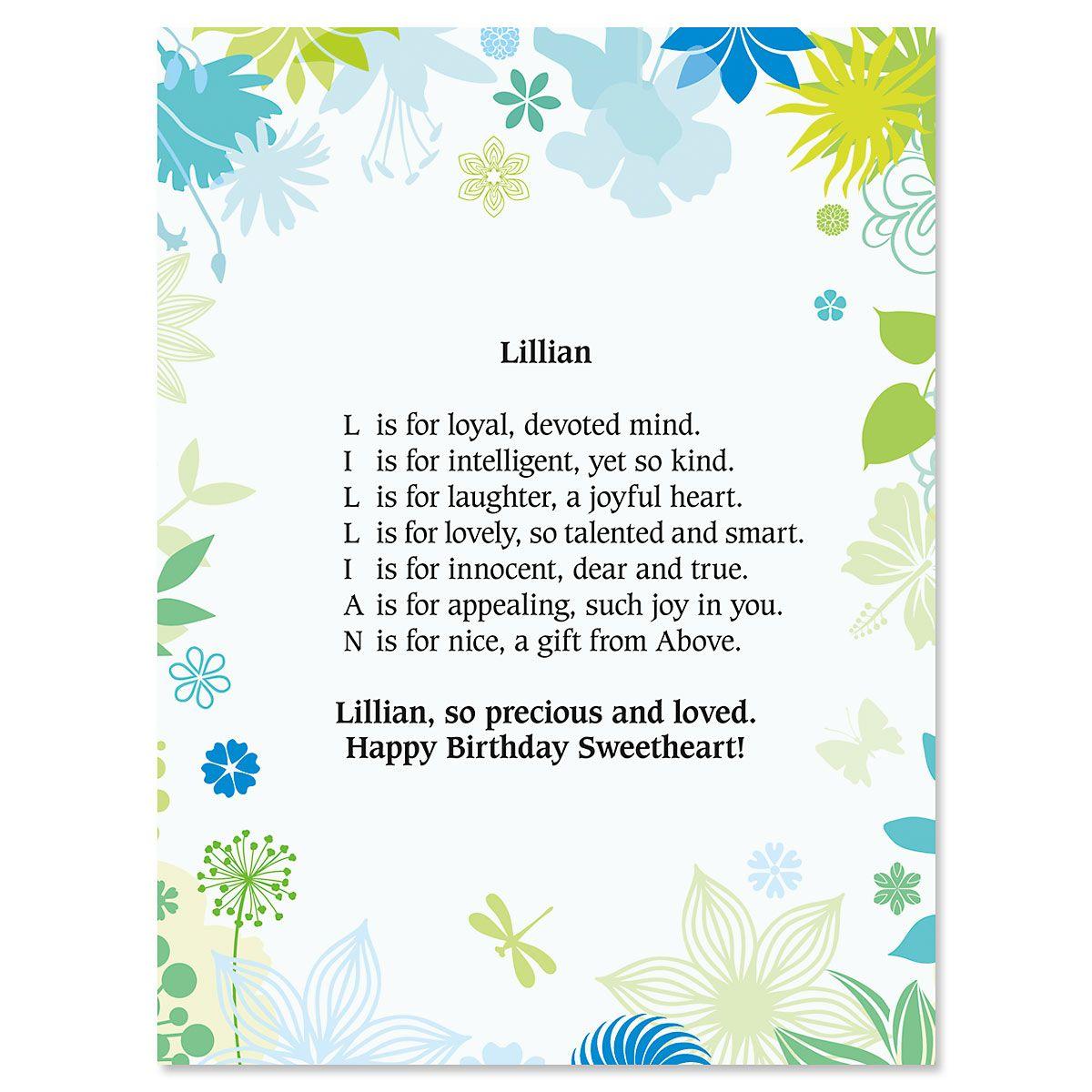 Blue Floral Name Poem Print