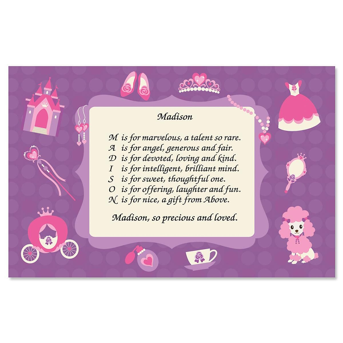 Princess Name Poem Kids' Placemats