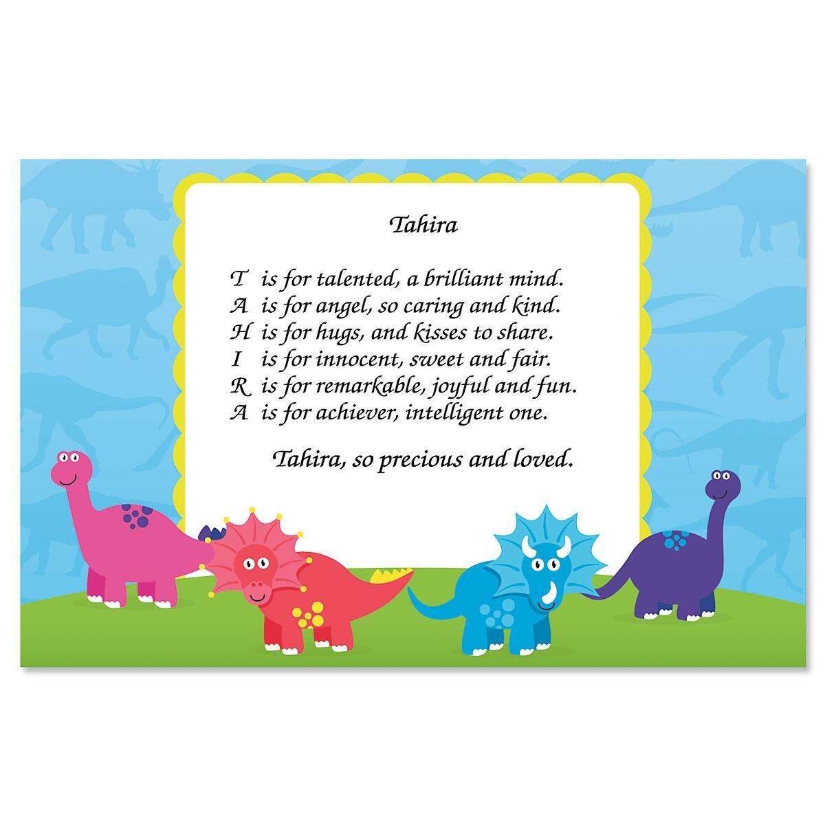 Dinosaur Name Poem Kids' Placemats