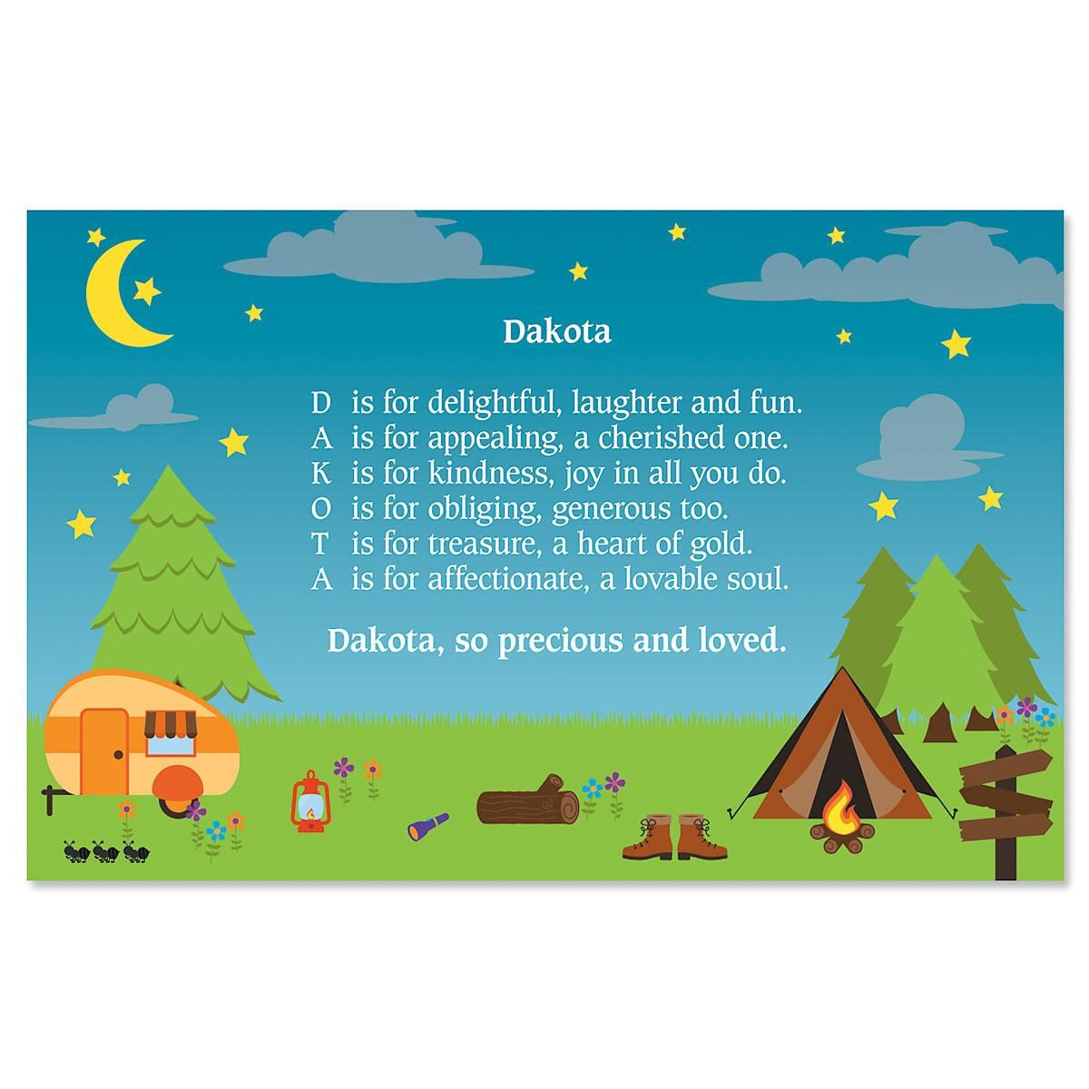 Camping Name Poem Kids Placemat