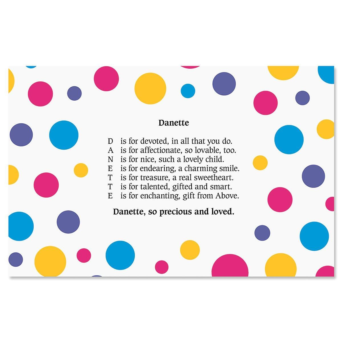 Dots Name Poem Placemat