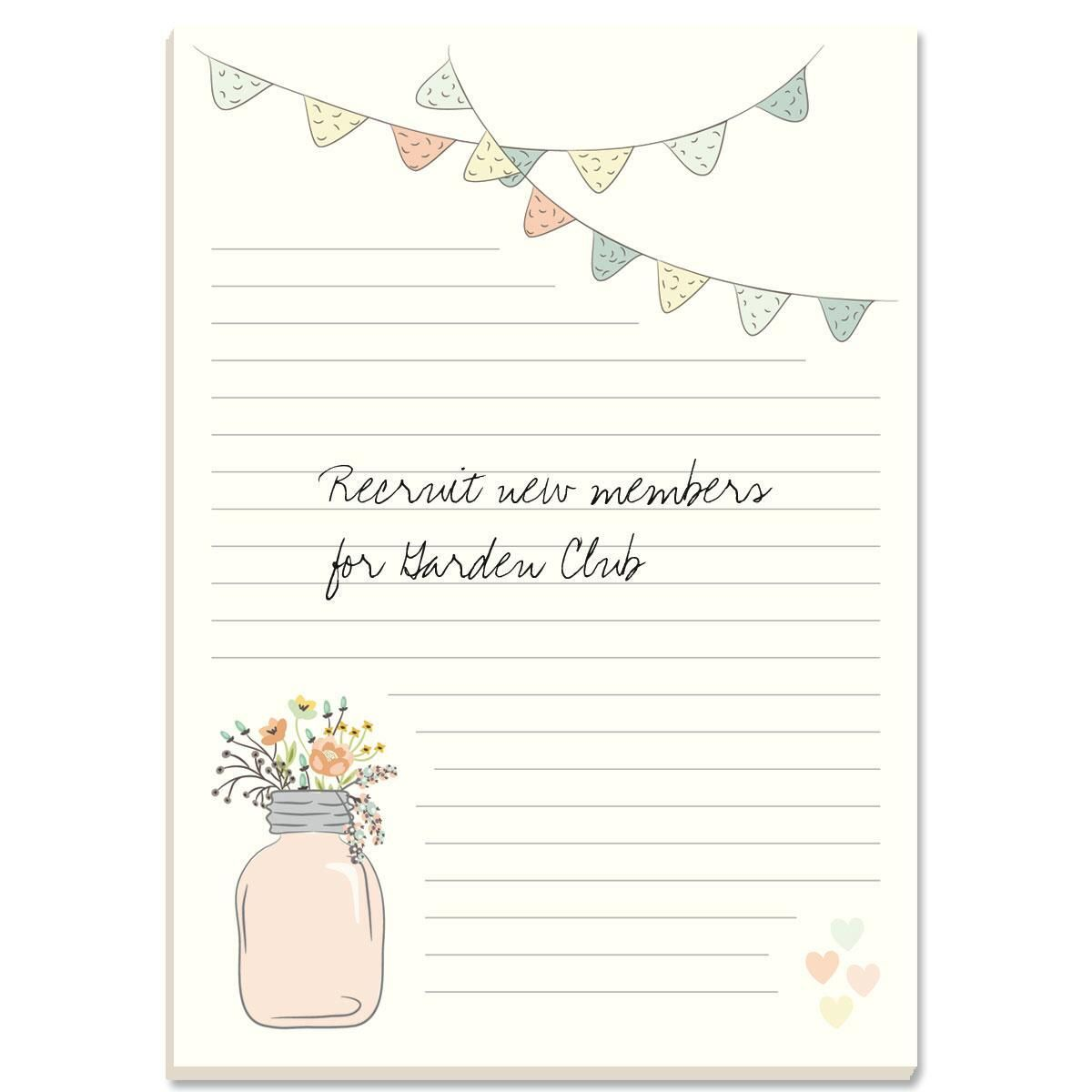 Mason Jar Lined Notepads