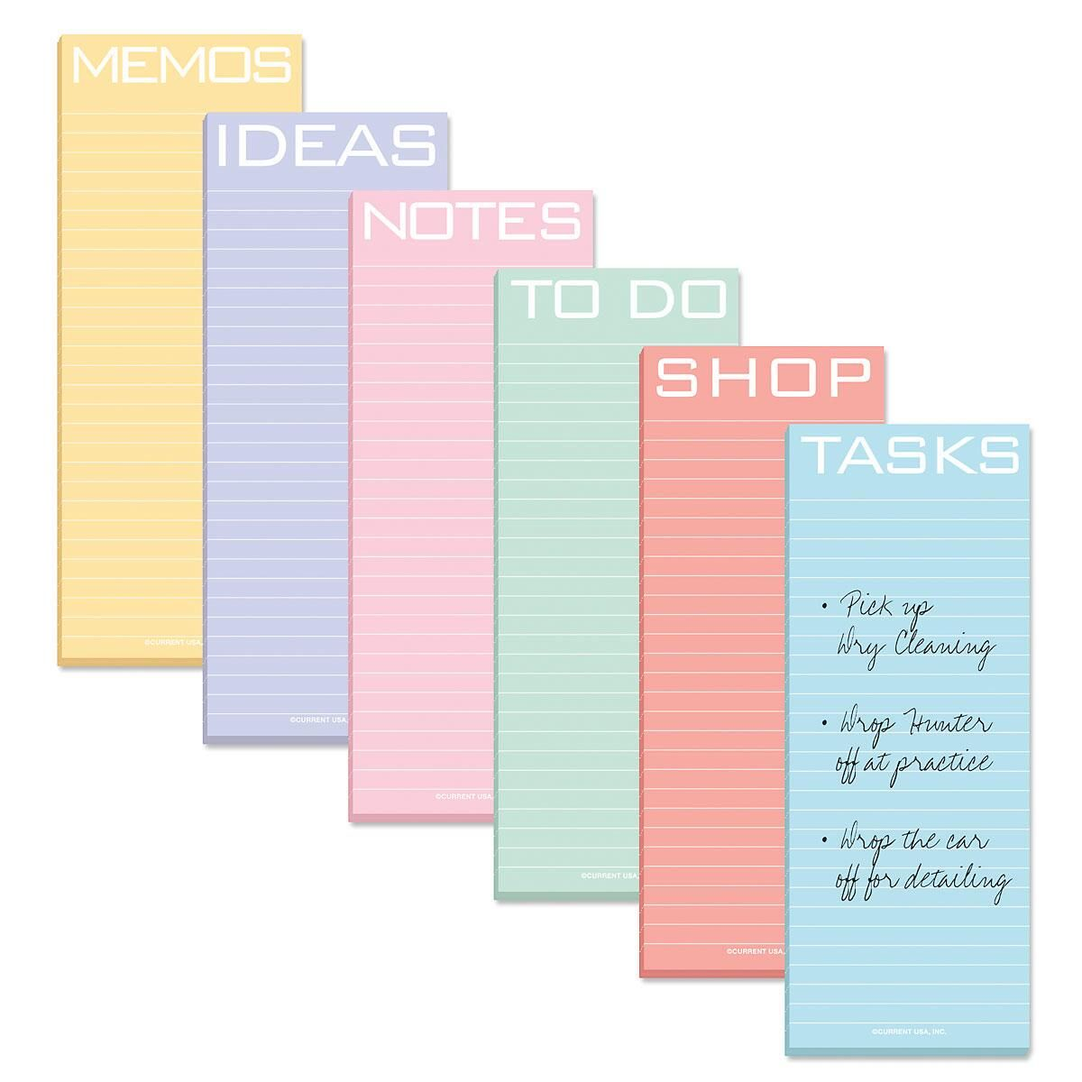 Color Brights Lined Magnetic Shopping List Pads