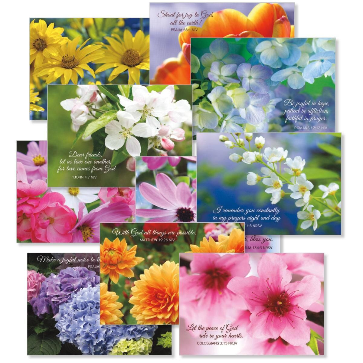 Floral Photo Faith Note Cards with Scripture