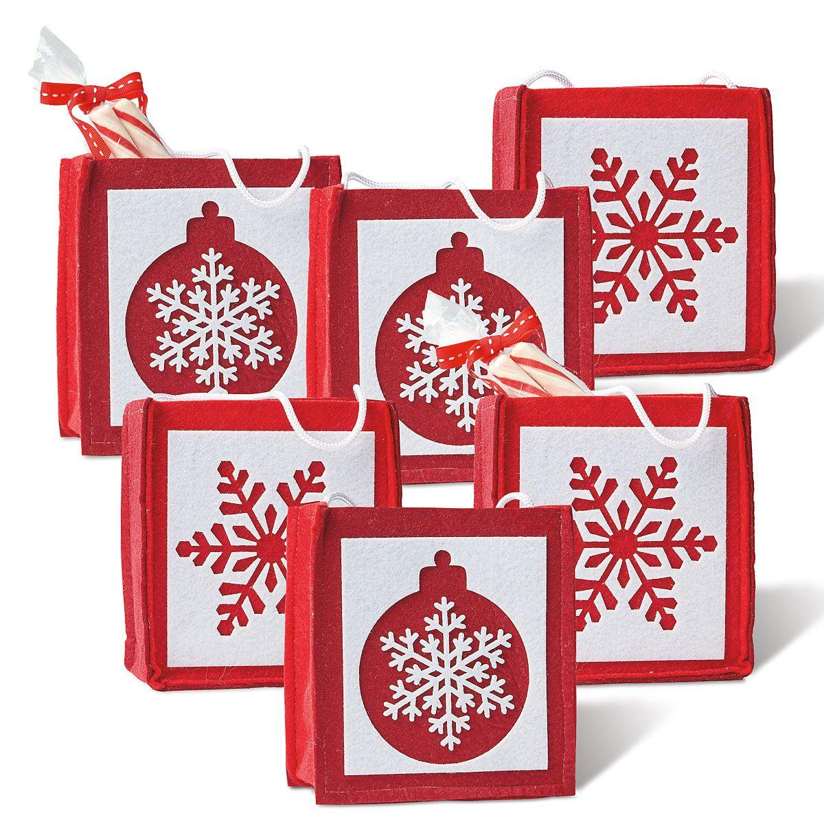 Christmas Snowflakes & Ornaments Felt Bags