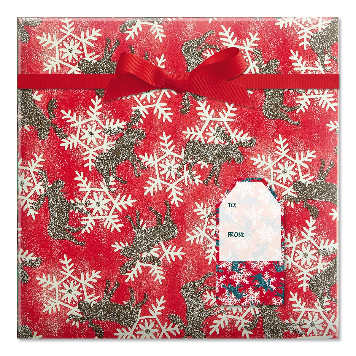 Moose and Snowflakes Jumbo Rolled Gift Wrap and Labels