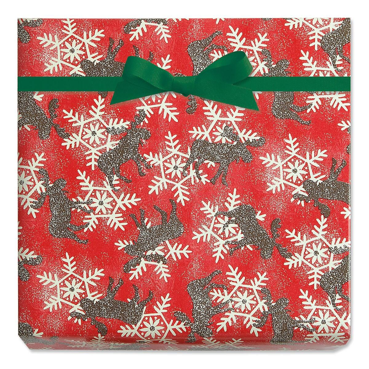 Moose and Snowflakes Jumbo Rolled Gift Wrap