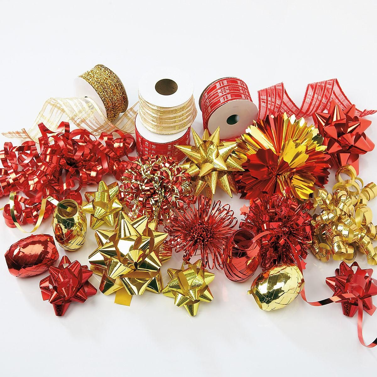 Red & Gold Ribbon & Bow Value Pack