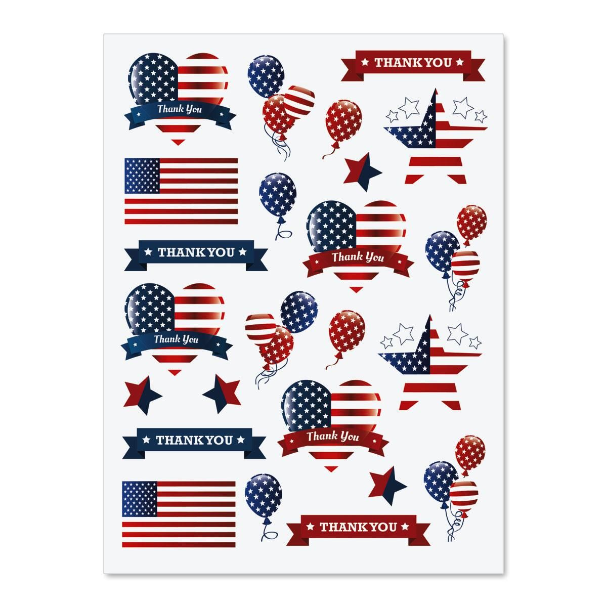 Patriotic Hearts & Stars Stickers