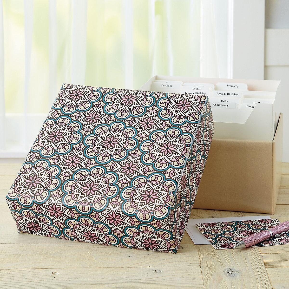 Mosaic Patterns Greeting Card Organizer Box