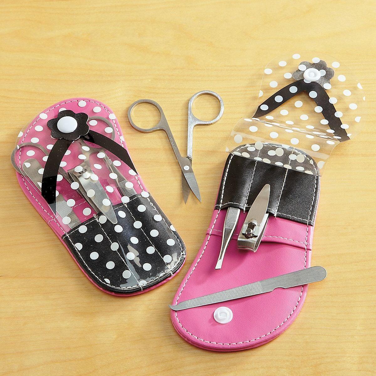 Pink & Black Flip Flop Manicure Set
