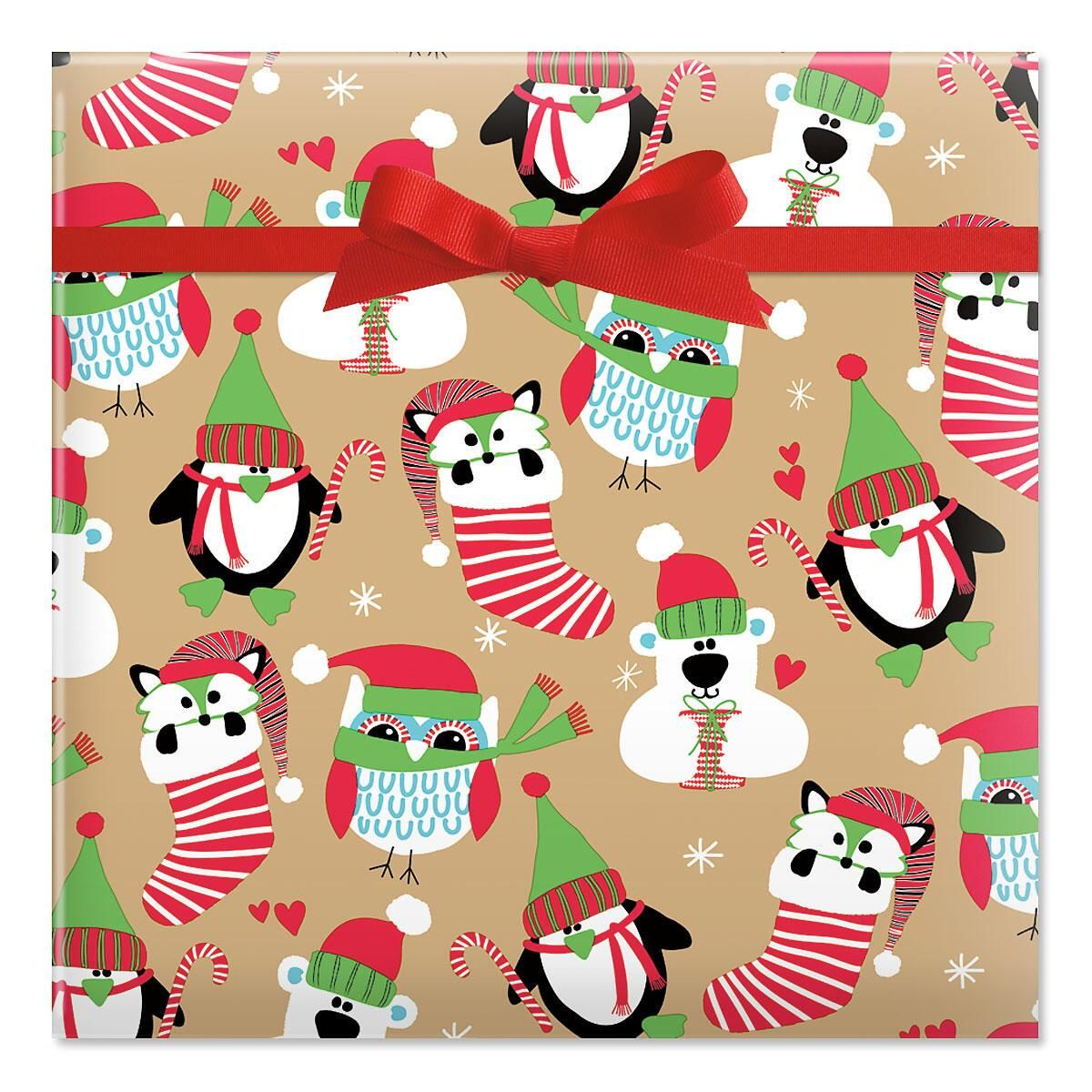 Owls and Foxes Jumbo Rolled Gift Wrap