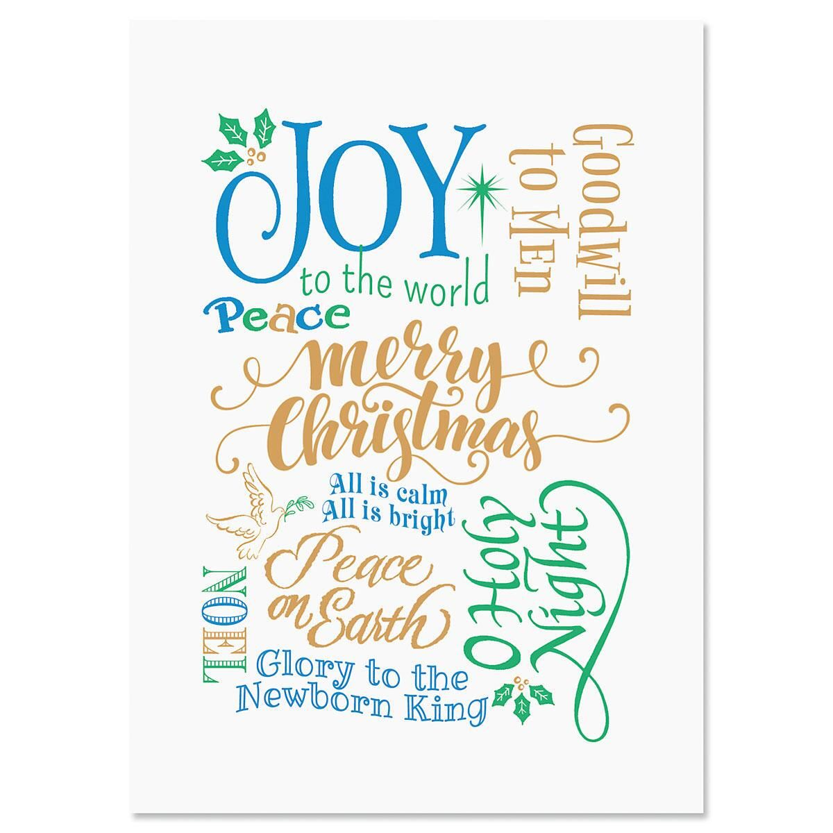 Rejoice Calligraphy Personalized Christmas Cards - Set of 18
