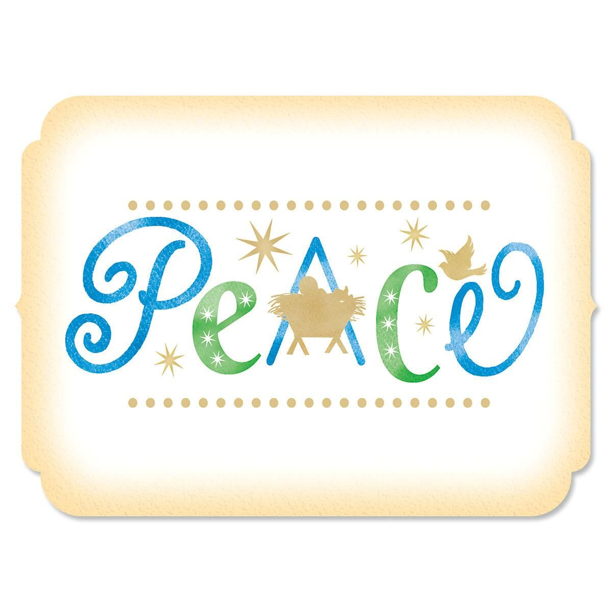 Peace Personalized Christmas Cards - Set of 18