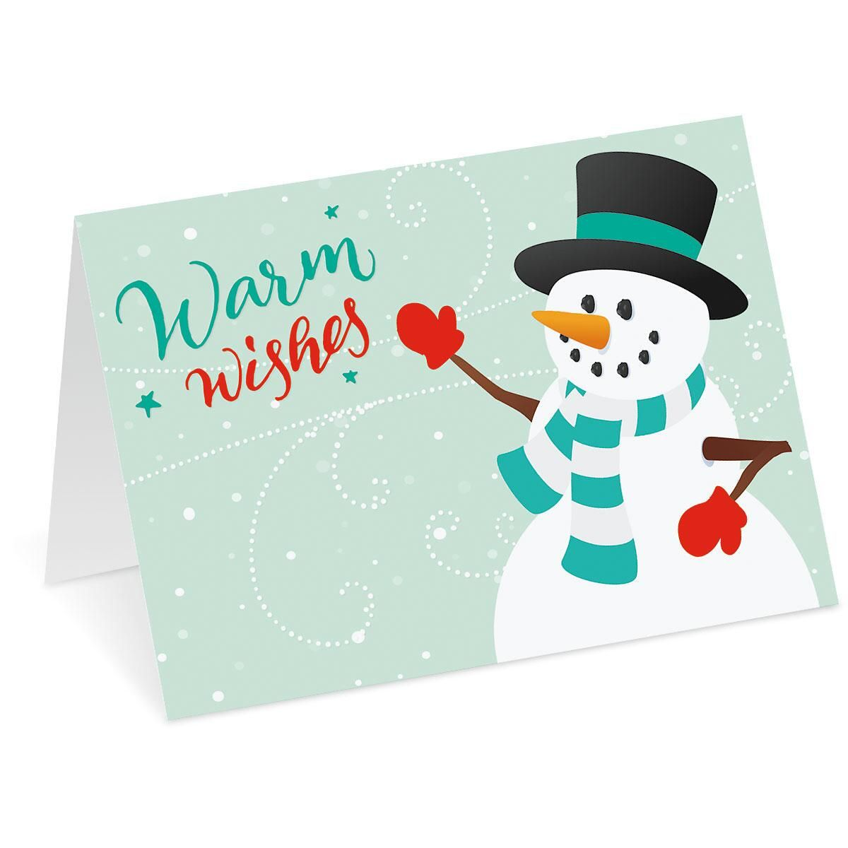 Snowy Holiday Personalized Christmas Cards - Set of 72