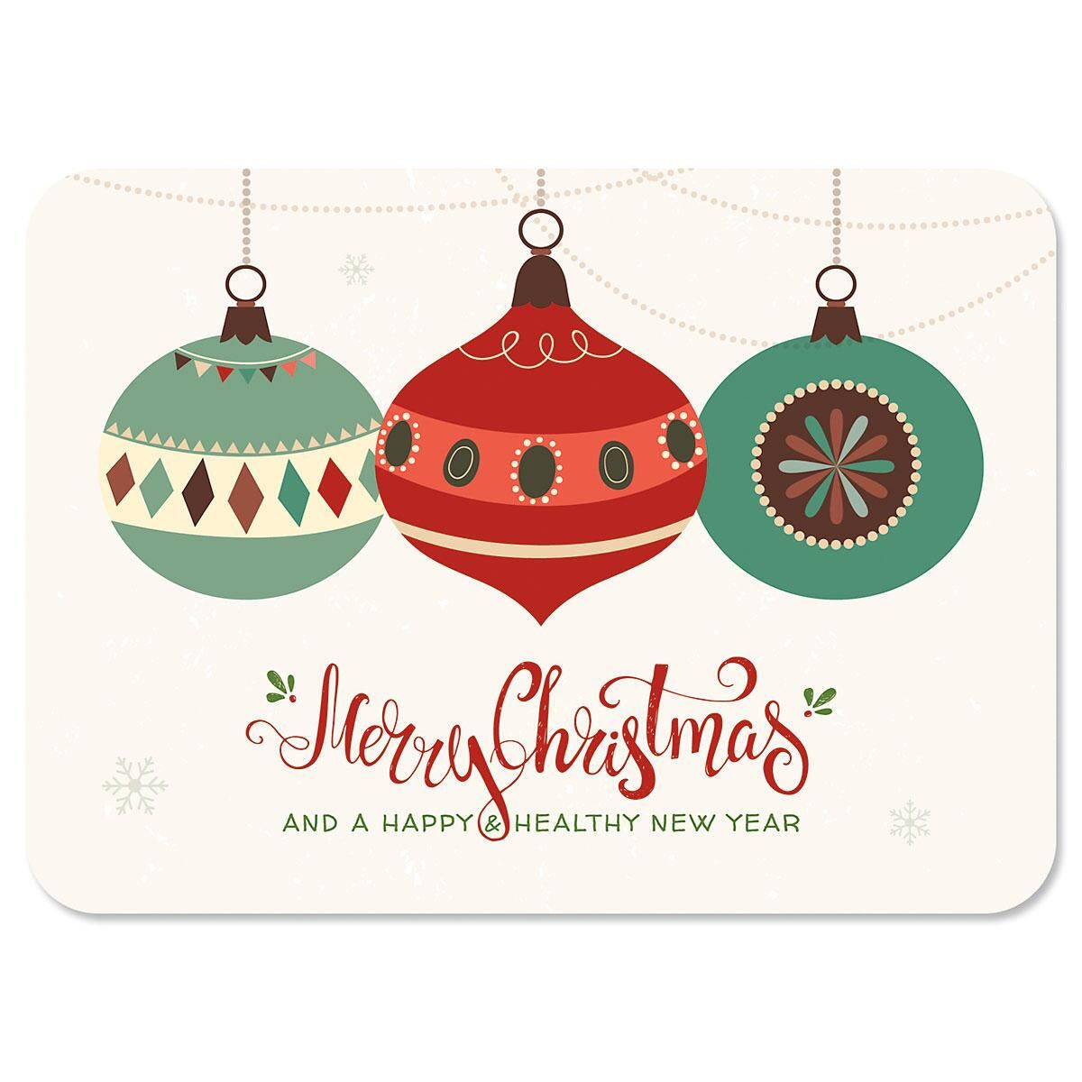 Ornament Trio Personalized Chrismtas Cards - Set of 72