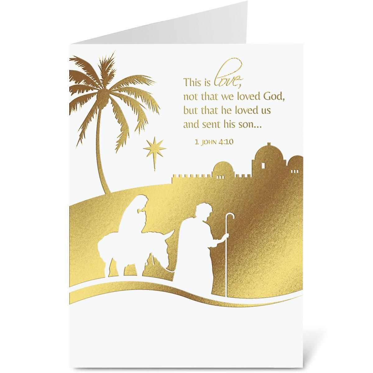 Nativity Nonpersonalized Deluxe Christmas Cards - Set of 56