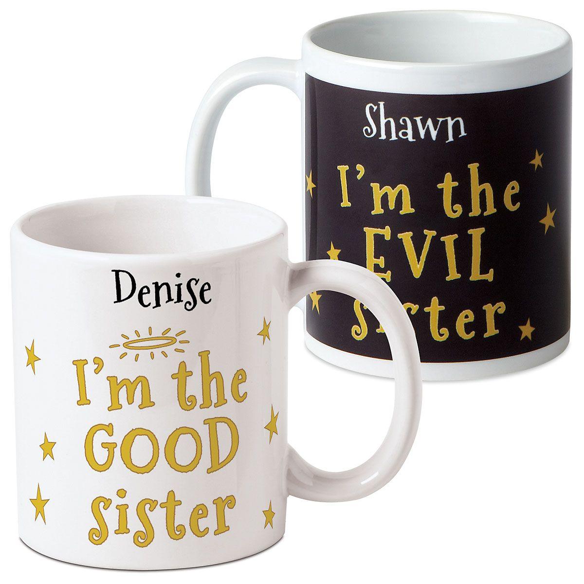 Good/Evil Sister Personalized Mug